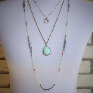 3 Layer Necklace Gold Tone Mint Green Long Length